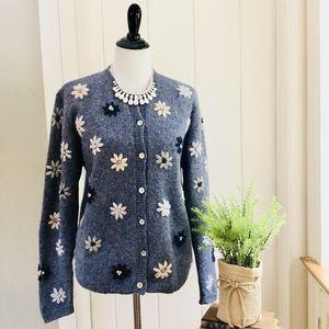 KAREN SCOTT Blue Daisy Floral Embroidered Cardigan